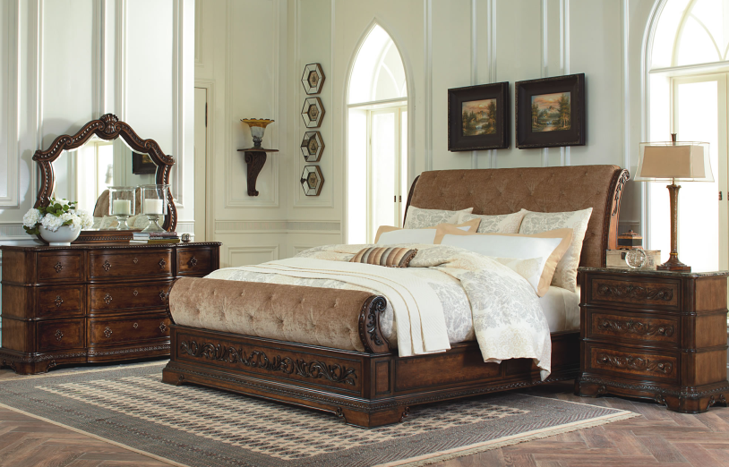 upholstered king sleigh bed 1