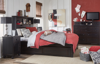 Complete Upholstered Bookcase Bed, Full 4/6